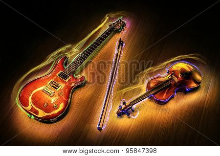 guitar and violin  with light painting