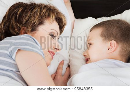 Happy woman looking at her son