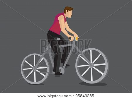 Bicycle Commuter Cartoon Vector Illustration