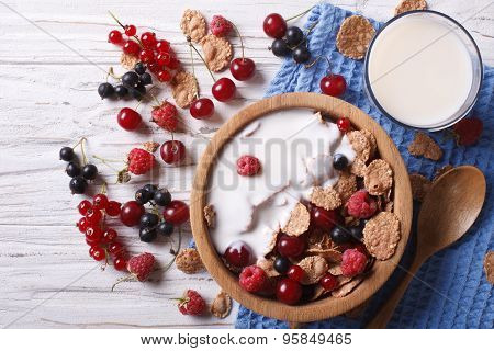 Cereal With Milk And Fresh Berries Horizontal Top View