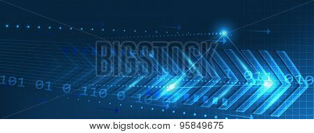 Abstract vector technology banner with arrows pattern and circuit board on a dark blue background