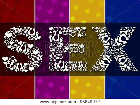 Sex Text With Symbols Colorful Background