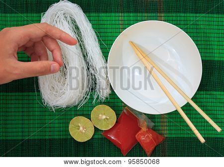 Mat With Dry Rice Vermicelli Noodles
