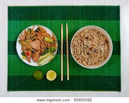 Mat With Short Rice Noodles, Meat And Fried Rice