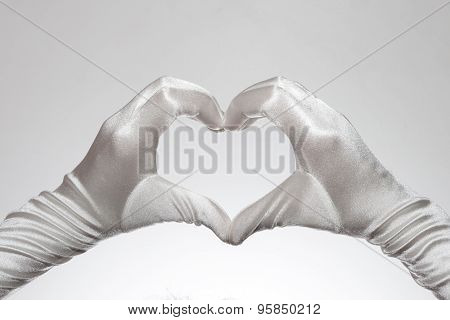 White Elegant Women's Heart Shaped Gloves Isolated On White Background