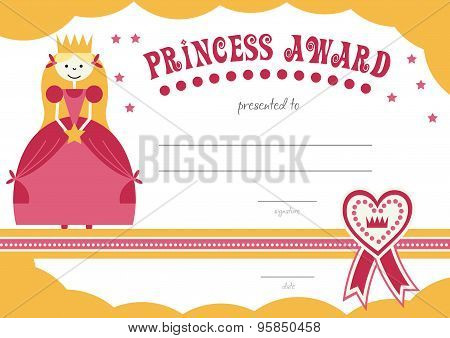 printable princess certificate has a pretty pink  border with a princess and can be used to give to