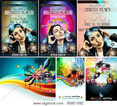 Club Disco Flyer Set with DJ Girl and Colorful Scalable backgrounds. A lot of different style flyesr for yourmusic event Posters and advertising printed material