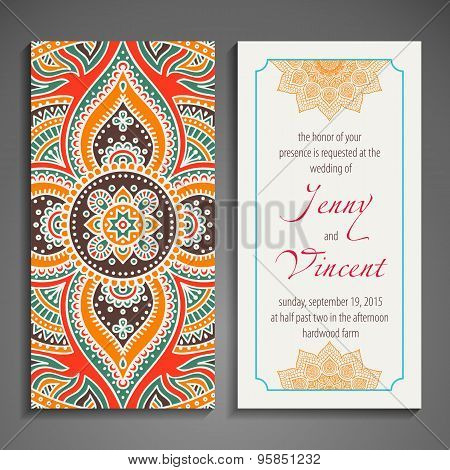 Card or invitation. Vintage decorative elements. Hand drawn background. Islam, Arabic, Indian, ottom