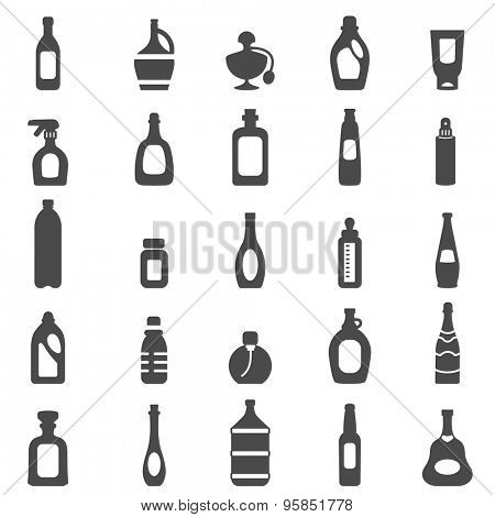 Bottle black icons set.Vector