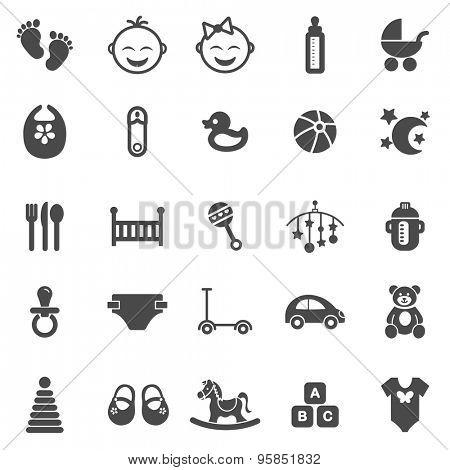 Baby black icons set.Vector
