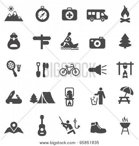 Camping black icons set.Vector