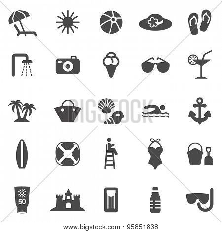 Beach black icons set.Vector