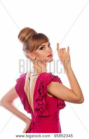 Girl In Evening Dress, With Makeup And Hairdo.