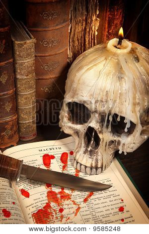 Halloween Book And Skull