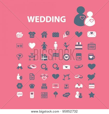 wedding, love, relations icons, signs, illustrations set, vector