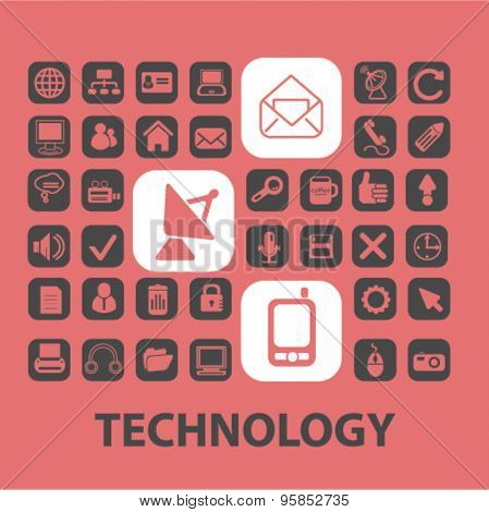 technology, communication, mobile icons, signs, illustrations set, vector
