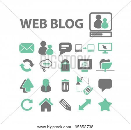 web, blog, internet icons, signs, illustrations set, vector