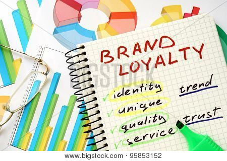 Note with words brand loyalty.