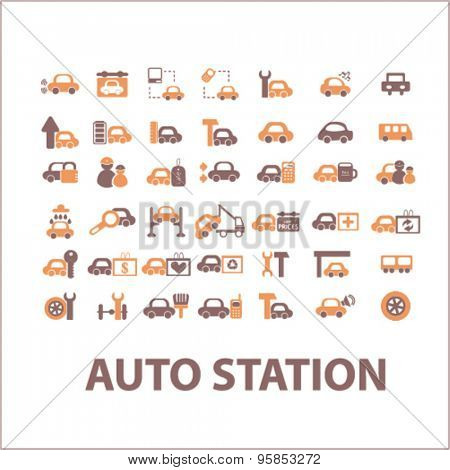 auto station, car service icons, signs, illustrations set, vector