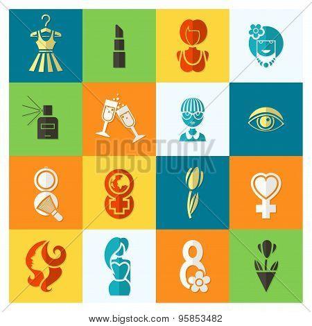 Womans Day Icon Set