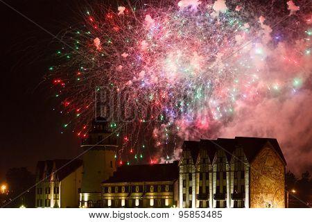 Fireworks Over The Fishing Village In Kaliningrad