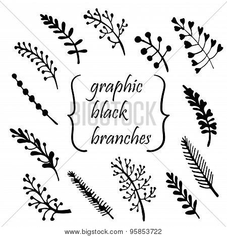 hand-painted twigs vector illustration