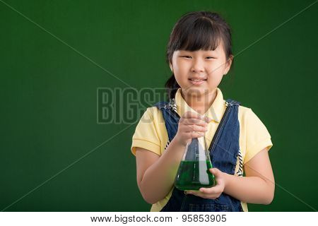 Asian schoolgirl with a flask