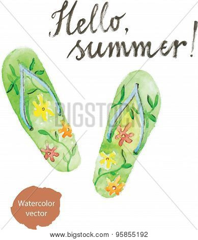 Watercolor Flip Flops