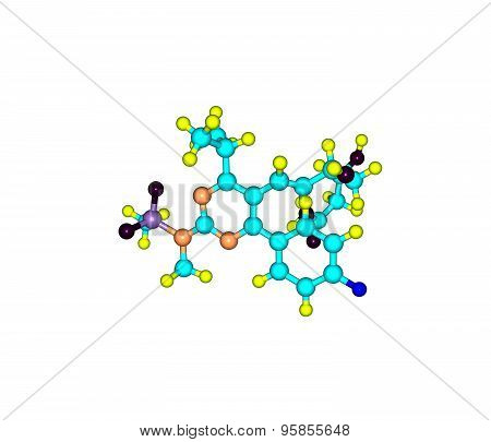 Rosuvastatin molecule isolated on white