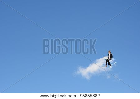 Asian business woman sit on the cloud, concept of cloud, sky, work etc.