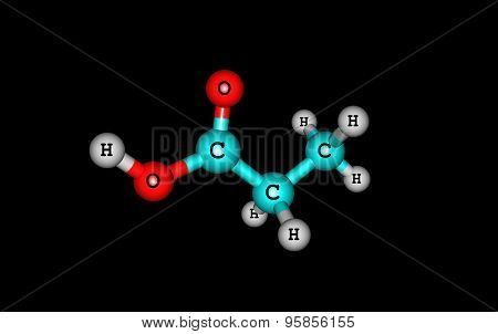 Propionic acid molecule isolated on black