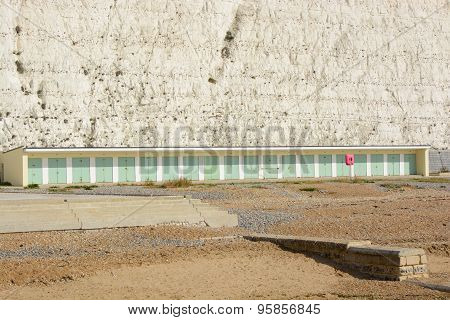 Beach Huts At Rottingdean, Sussex, England