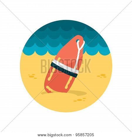 Torpedo Rescue Lifeguard Buoy Flat Icon