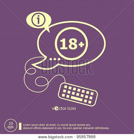 18 Plus Years Old Sign. Adults Content Icon And Keyboard Design Elements