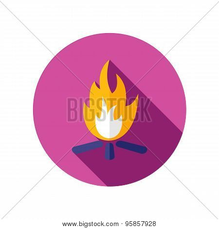 Bonfire Flat Icon With Long Shadow