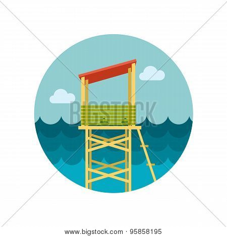 Lifeguard Tower Flat Icon