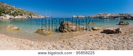 Beach In The Adriatic Sea On The Island Of Hvar, Croatia. Panorama