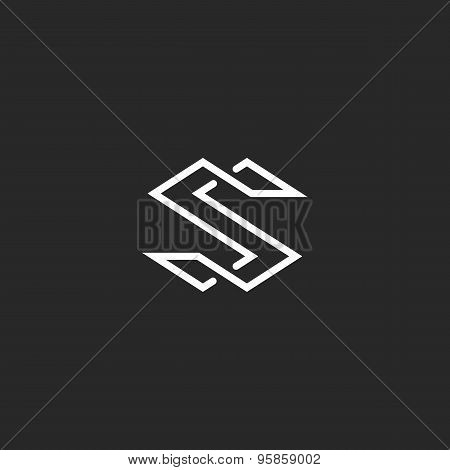 Letter S Logo Monogram, Modern Symbol Mockup For Business Card, Overlapping Style
