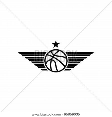 Basketball Ball Icon With Wings And Star, Mockup Black And White Sport Tournament Emblem, Team Logo