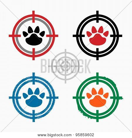 Paw On Target Icons Background