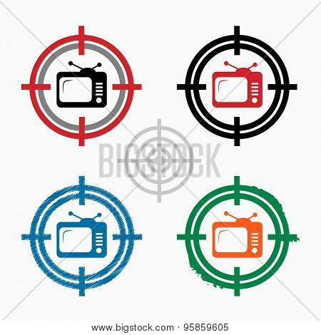 Televisor On Target Icons Background