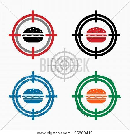 Hamburger On Target Icons Background