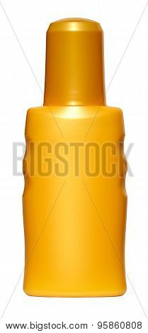Bottle With Sun Cream On White