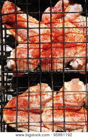fresh raw chicken wings on barbecue grid over charcoal spread with paprika and red hot pepper ready to cooking