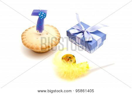 Cupcake With Seven Years Birthday Candle, Gift And Whistle
