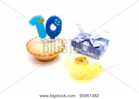 Cupcake With Ten Years Birthday Candle, Gift And Whistle