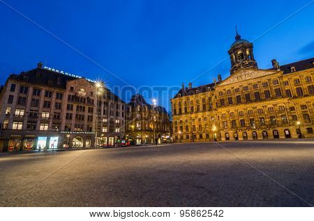 Amsterdam, Netherlands - May 7, 2015: Tourist Visit Dam Square