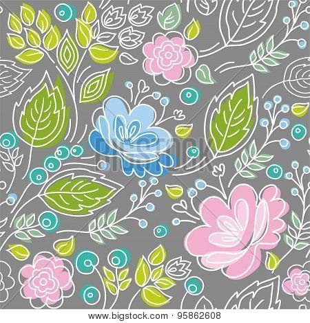 Seamless Gray Pattern, Blue, ...