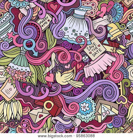 Cartoon doodles wedding seamless pattern