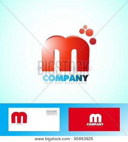 Letter M Logo Red Icon 3D